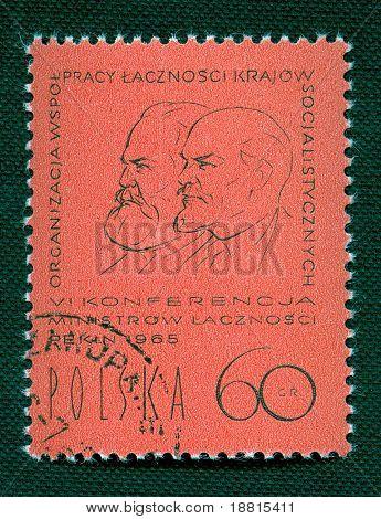 W. Lenin & K. Marx on Polish vintage stamp poster