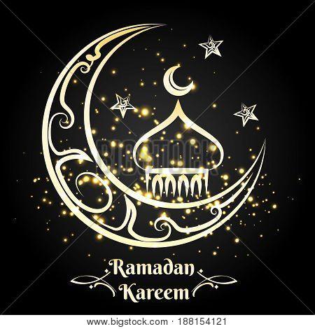 Ramadan Kareem logo design, vector illustration. Golden arabic mosque with moon and stars on black background