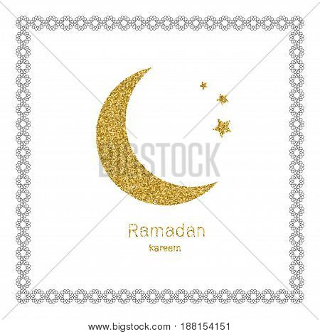Ramadan Kerim, white Arabic bezel and gold glitter moon. Template design for greeting card, banner, poster, invitation. Vector illustration.