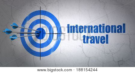 Success travel concept: arrows hitting the center of target, Blue International Travel on wall background, 3D rendering