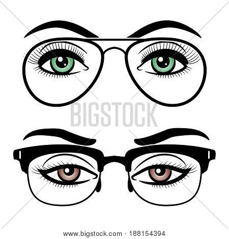 Female eyes with glasses isolated on white background. Green and brown woman eyes with glasses, vector illustration
