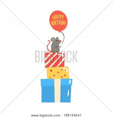 Cute cartoon mouse sitting on colorful gift boxes and holding red balloon. Happy Birthday colorful vector Illustration for poster, greeting card, banner
