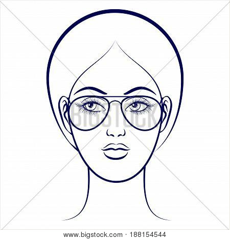 Balpoint drawing female face with glasses on grey backdrop. Vector illustration