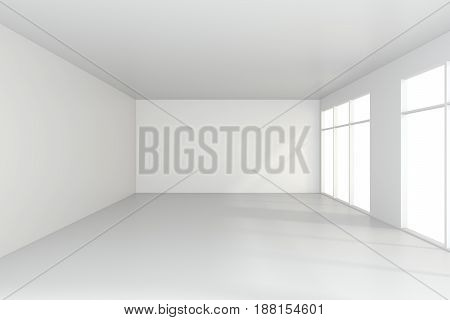 light white room and big window. 3d rendering.
