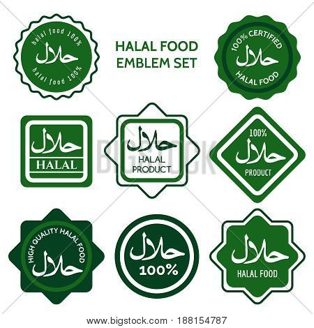 Halal food labels vector illustration. Green colors halal food logo set
