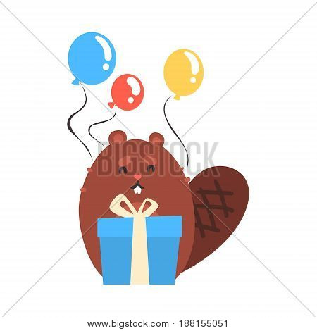 Cute cartoon beaver holding blue gift box and bunch of colorful balloons Happy Birthday cartoon vector Illustration for poster, greeting card, banner