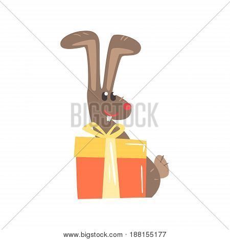 Cute cartoon rabbit with big gift box Happy Birthday colorful vector Illustration for poster, greeting card, banner