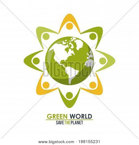 abstract group of people around the planet concept green world vector illustration