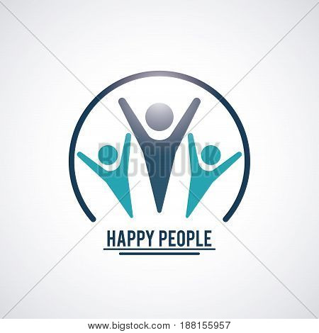color teamwork happy people with circular frame three pictograms hands up inside vector illustration