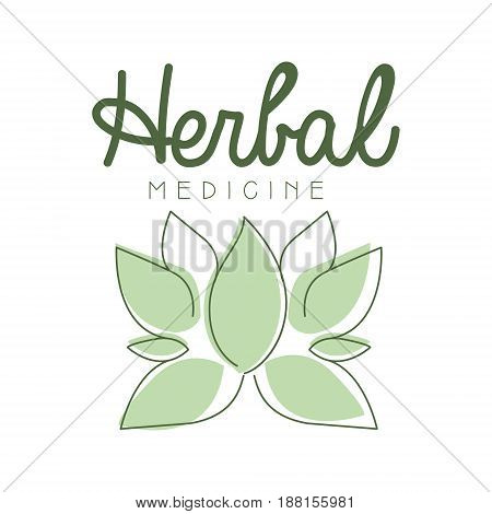 Herbal medicine logo symbol vector Illustration for business emblem, alternative medicine, homeopathy, holistic medicine center, ayurveda label