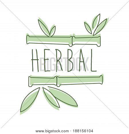 Herbal logo symbol vector Illustration for business emblem, alternative medicine, homeopathy, holistic medicine center, ayurveda label