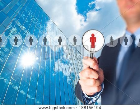 Networking And Recruitment - Businessman With Magnifying Glass. Human Resources, Crm, Data Mining, A