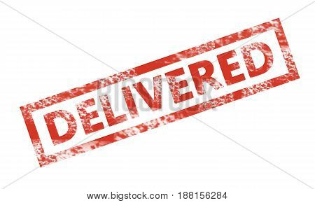 DELIVERED writing in a rectangular stamp. Business technology internet concept. Stock Photo