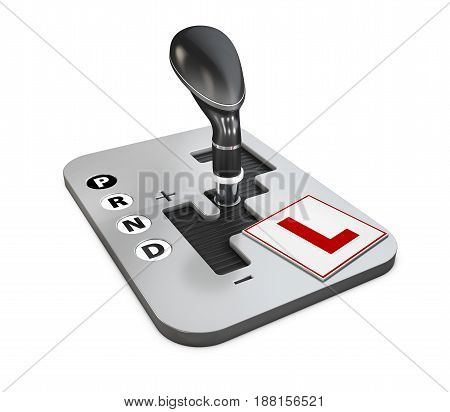 Design Concept Of Driving School With Automatic Gear Shift And Learn To Drive Sign, 3D Illustration