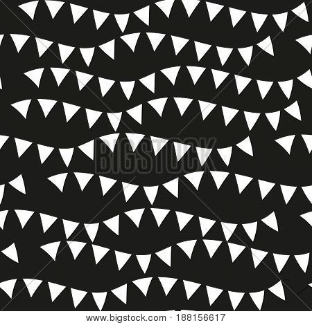Black monochrome seamless patterns. Geometric repeating texture, endless background. Vector illustration