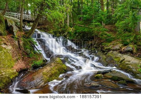 Potts Falls are located in the town of Bracebridge Ontario Canada.