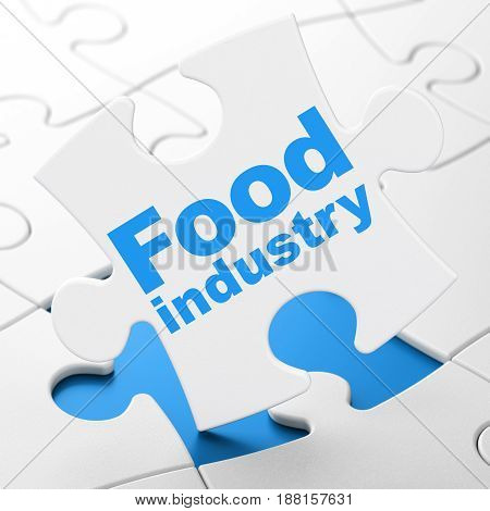 Industry concept: Food Industry on White puzzle pieces background, 3D rendering