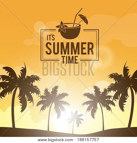 poster landscape of palm trees on the beach with logo summer time and cocktail coconut vector illustration