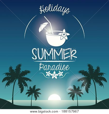 poster sunset landscape of palm trees on the beach with logo holidays summer paradise and cocktail coconut vector illustration