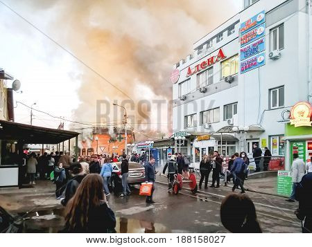 ODINTSOVO RUSSIA - May 23 2017. Large fire in a shopping centre near railway station. Stores are burning in the illegally constructed building.