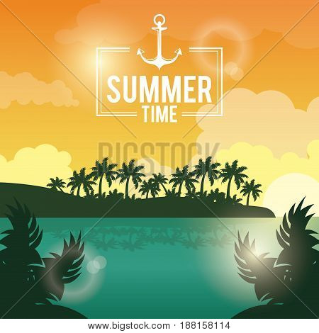 poster sunset landscape of palm trees on the beach with logo summer time with anchor vector illustration