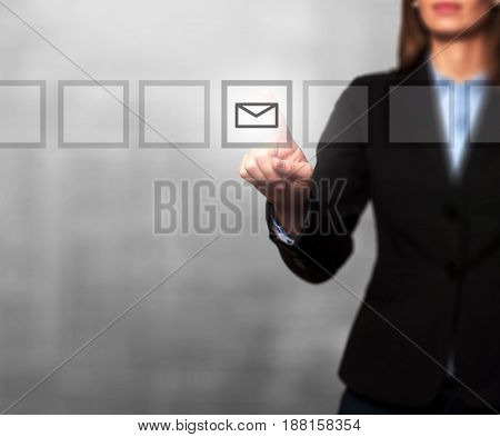 Businesswoman Hand Press Mail Icon Button On Visual Screen