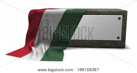 stone socket with blank sign and flag of hungary - 3d rendering