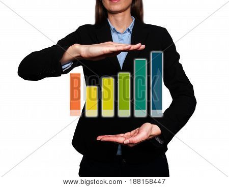 Businesswoman Holding Futuristic Growth Graph