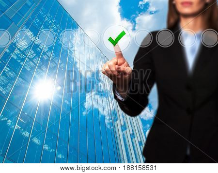 Business Women Check Mark On Virtual Screen. Finger On A Checklist Box And Ticking. Business Technol