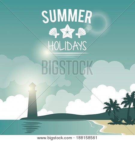 poster seaside with lighthouse and logo summer holidays vector illustration