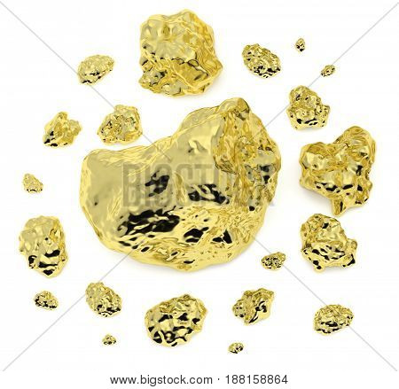Big and small golden nuggets closeup isolated on white background. Gold ore in its origin as pieces of gold 3D illustration