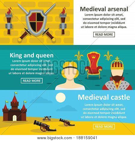 Medieval symbols banner horizontal concept set. Flat illustration of 3 medieval symbols vector banner horizontal concepts for web