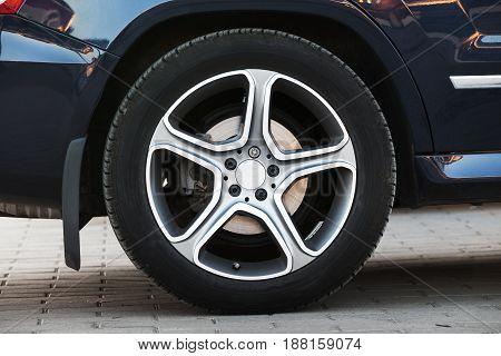 Modern Car Wheel On Light Alloy Disc, Closeup