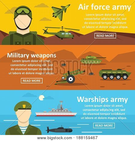 Military force banner horizontal concept set. Flat illustration of 3 military force vector banner horizontal concepts for web