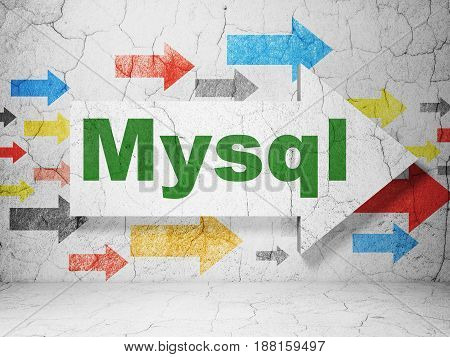 Software concept:  arrow with MySQL on grunge textured concrete wall background, 3D rendering