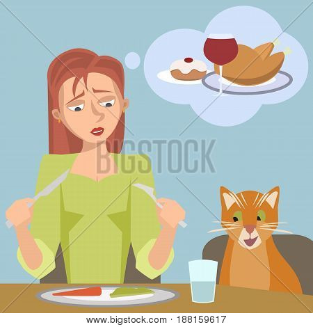 woman on diet dreams of high calorie food - funny cartoon vector illustration