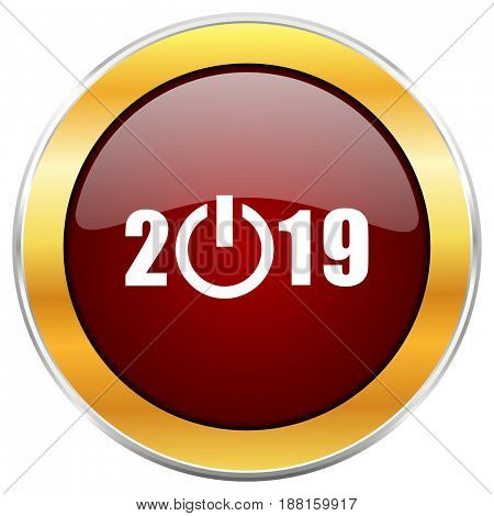 New year 2019 red web icon with golden border isolated on white background. Round glossy button.