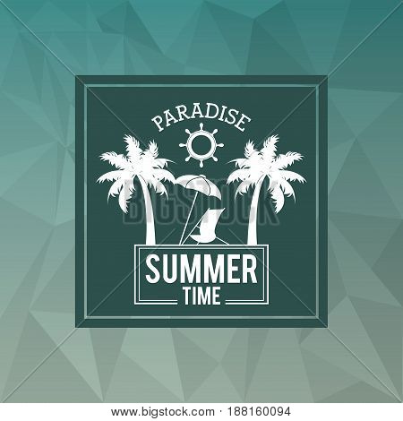 abstract polygonal background with square frame of logo text paradise summer time with beach vector illustration