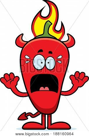 Scared Cartoon Chili Pepper Devil