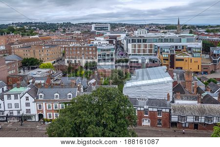 The central part of the city of Exeter. Low-rise dense buildings. View from above. Devon. UK