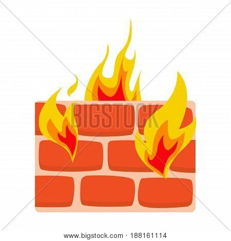 Firewall icon flat. Wall in fire icon vector illustration. Network protection symbol
