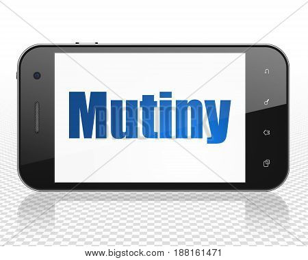 Politics concept: Smartphone with blue text Mutiny on display, 3D rendering