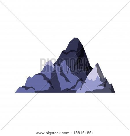 white background with dark blue silhouette of hill with peak snowy vector illustration