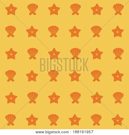 yellow color pattern of shells and starfish vector illustration