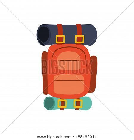 colorful silhouette with camping backpack vector illustration