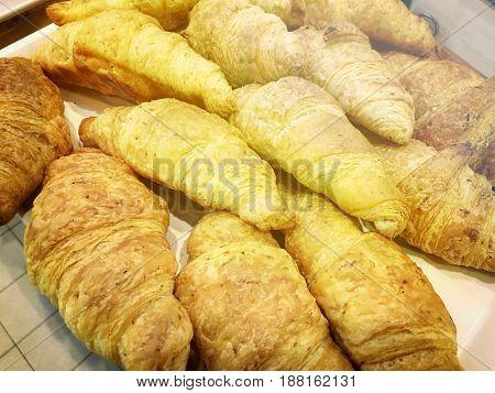 Fresh Croissant Bread On Buffet Line. Soft Focus.