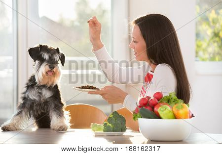 Woman Feeding Dog At Kitchen Table