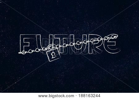 Lock And Chain Blocking Or Protecting The Word Future
