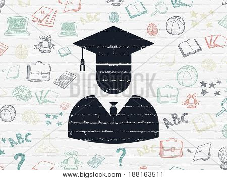 Learning concept: Painted black Student icon on White Brick wall background with  Hand Drawn Education Icons