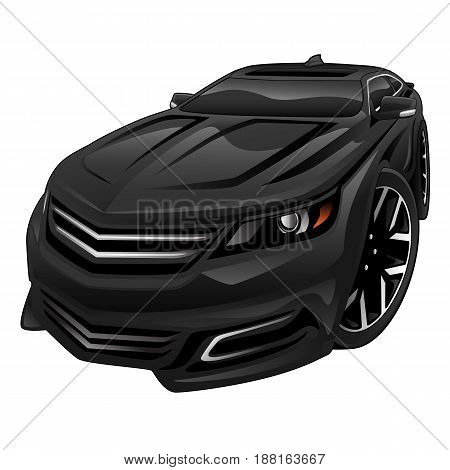Big modern late-model full-size black sedan auto illustration with an aggressive look, low profile, big tires and rims